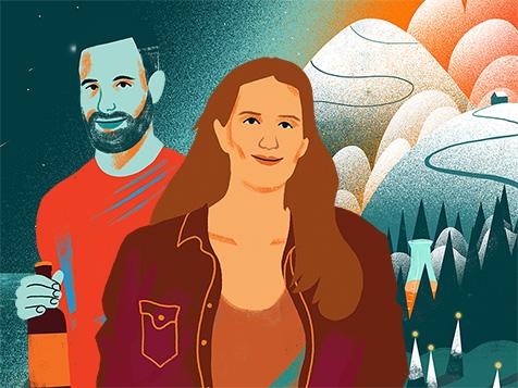 Illustratie van een man en een vrouw die een bier in de hand houden.