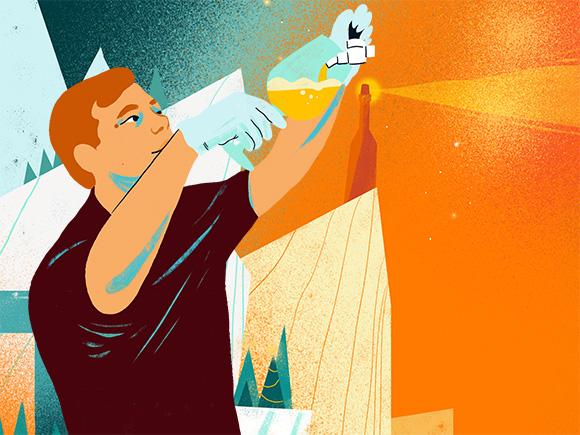Illustratie van een man die een drukbier gebruikt.