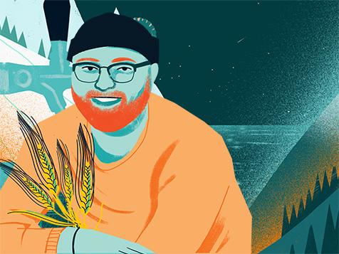 Illustratie van een man die lacht en een piek van tarwe, gekruiste armen houdt.