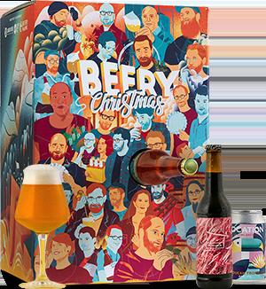 Geïllustreerde kartonnen doos, met blikjes bier en een gevuld glas.