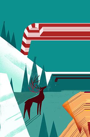 Klif in de kerstperiode met een hert
